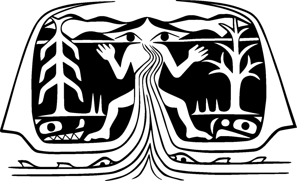 Logo design in black and white of 'Namgis art depicting the Gwa'ni Story